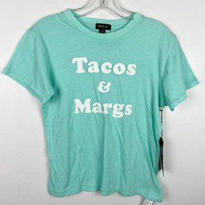 NWT Wildfox Tacos and Margs Teal Graphic Tee XS